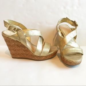 Jessica Simpson Strappy Gold Wedge Sandals